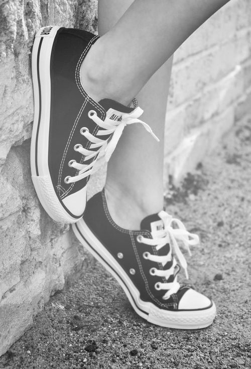 black and white girls converse