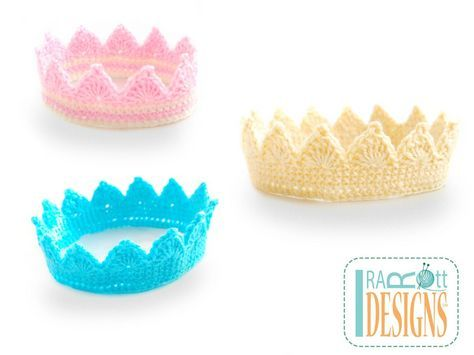 Free PDF Crochet Pattern - Princess Crown by IraRott - in 9 sizes from doll to large adult