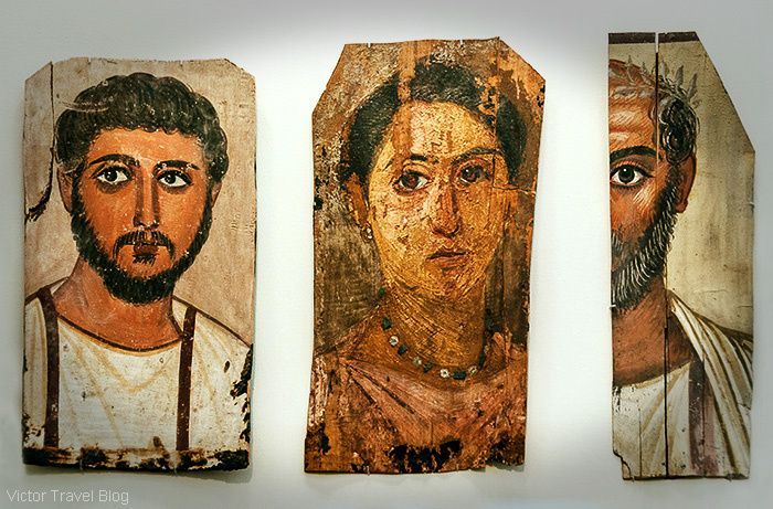 Fayum mummy portraits. The National Archaeological Museum of Athens. Greece.