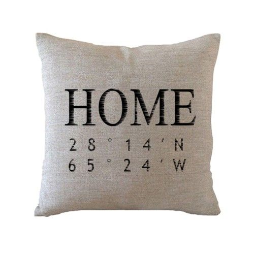 Personalized home pillow cover,Custom longitude and latitude cushion case,linen decor pillowcase - Monogram/Name - Pillow Cover - Create