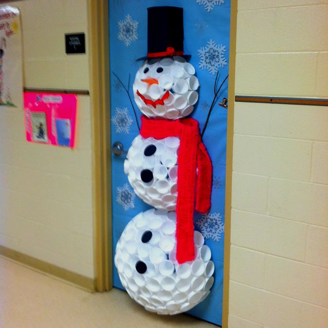 Preschool Classroom door decorations for the holidays. Styrofoam cup snowman.