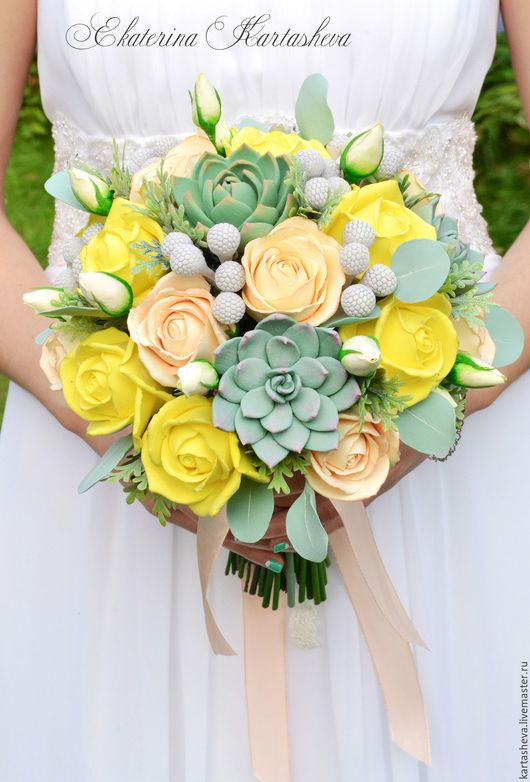Wedding bouquet / Свадебные цветы ручной работы. Ярмарка Мастеров - ручная работа. Купить Свадебный букет невесты из полимерной глины. Handmade. Лимонный