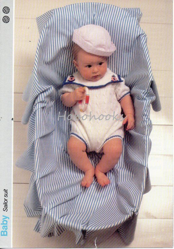 bd02e3e47c21 Baby Knitting Patterns Baby Sailor Suit Baby Rompers Baby Romper ...