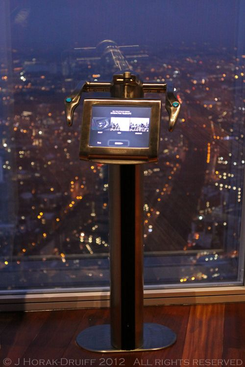 The View From The Shard - an interactive telescope at London's highest viewing platform, 72 floors up.  Opens 1 February 2013  © J Horak-Druiff 2013