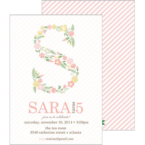Floral Initial Double-Sided Invitation - Click Image to Close