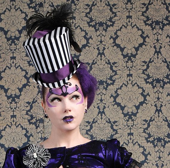 Striped Gothic Top Hat  Steampunk Circus Black and by BizarreNoir, €140.00