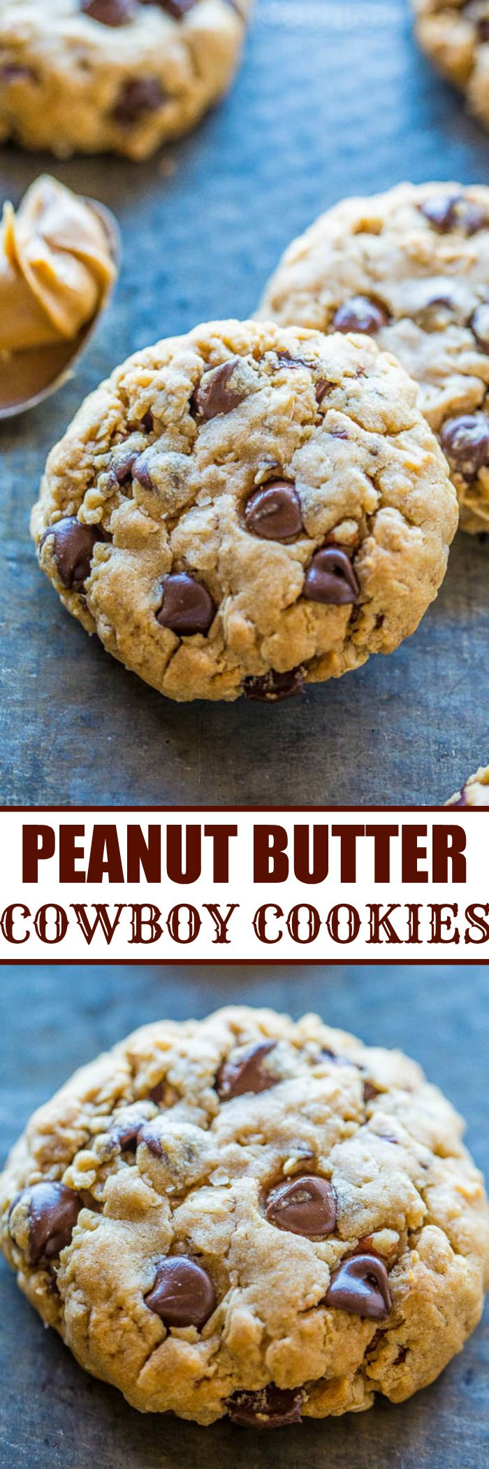 Peanut Butter Cowboy Cookies - Chewy oats, sweet coconut, crunchy pecans, peanut butter, and plenty of chocolate!! A true 'kitchen sink' cookie that stays soft and chewy! Everyone (not just cowboys) loves these cookies!! #FathersDay treat!
