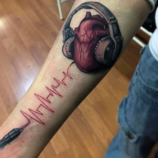 Heartbeat And Heart With Headphones Tattoo Guys Forearms
