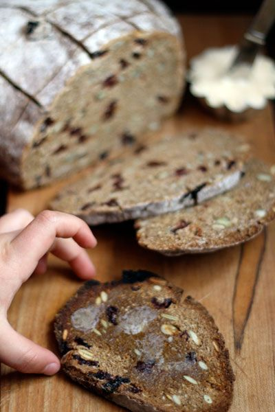 Rye Bread with Cherries & Pumpkin Seeds - I do love cherries!  Eat it!  It's good for you!  :)