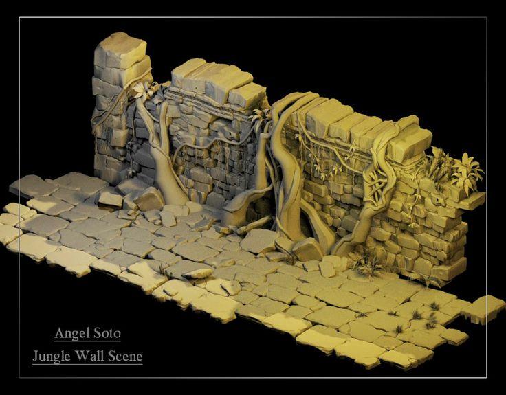 "Jungle Temple Wall Scene (Disney's ""Jungle Book""), Ann S. on ArtStation at https://www.artstation.com/artwork/QayVB"