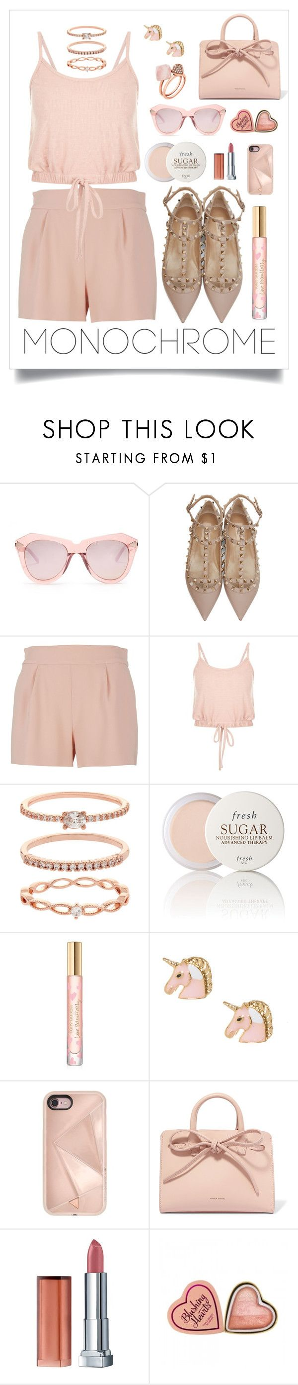 """""""Blush"""" by seasidedreaming ❤ liked on Polyvore featuring Karen Walker, Valentino, Moschino, Accessorize, Fresh, Tory Burch, Rebecca Minkoff, Mansur Gavriel, Maybelline and Michael Kors"""