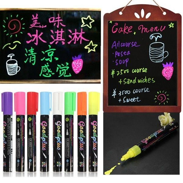 7.61$  Watch more here - 8 Color Erasable Liquid Chalk Highlighter Fluorescent Neon Marker Pen LED Writing Board Glass Window Art   #aliexpress