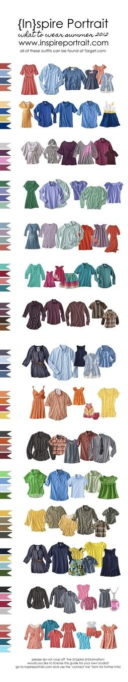 here is a huge clothing guide for colors that look good together. Dark wash jeans or dark pants will make these colors pop and will bring out the faces of the subjects more.