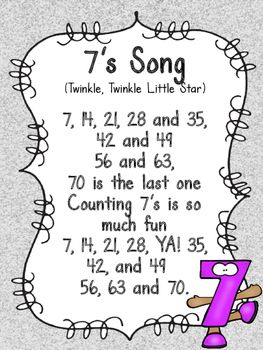 Multiplication Songs for 3-9 Facts FREEBIE