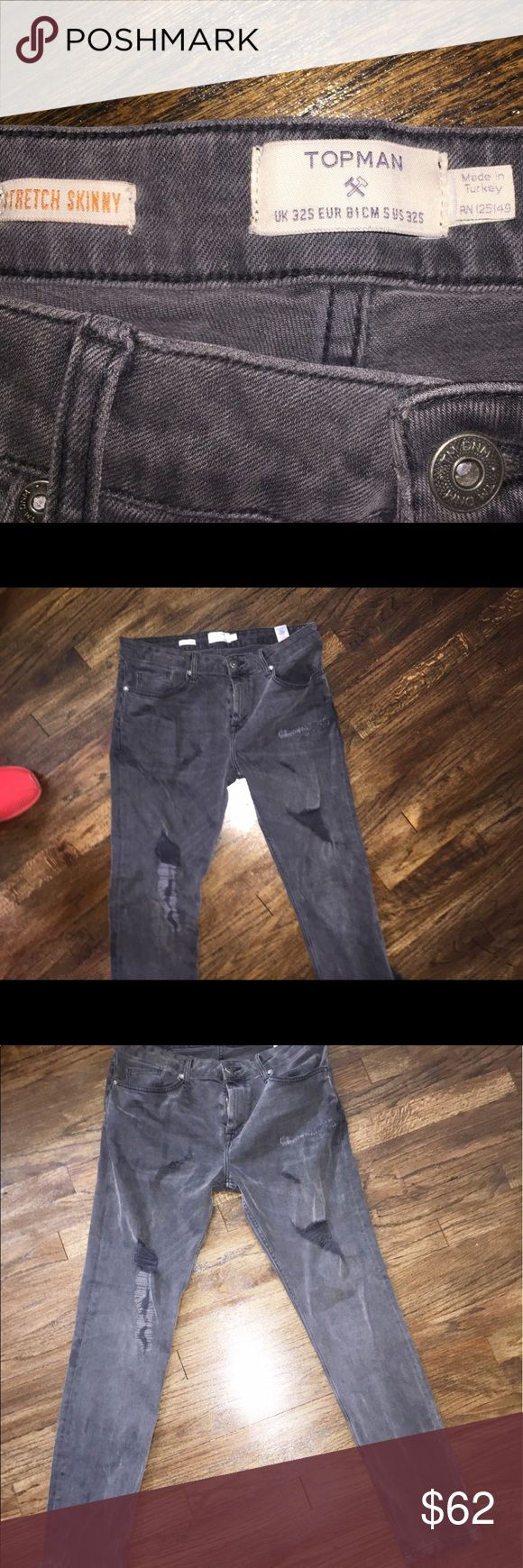 TOPMAN JEANS/ ALL BLACK RIPPED Only wore once. Bought them for $80. Topman Jeans Skinny
