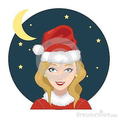 A cute woman wears santa claus hat in christmas eve