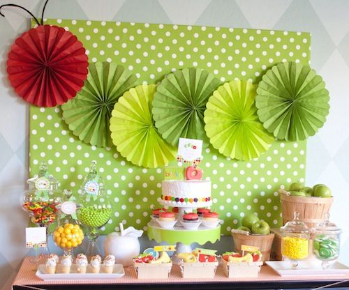 hungry caterpillar dessert table...candy jars, cookies, cones, printables  love this, especially the board in the back, solves the problem of not being able to tape anything on the wall