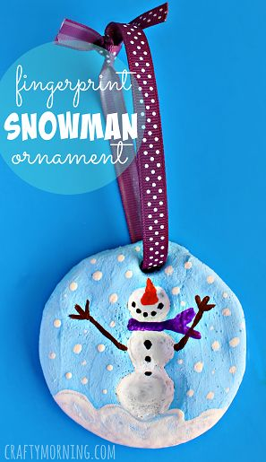 Fingerprint Snowman Salt Dough Christmas Ornament - Great christmas craft idea for kids! | CraftyMorning.com