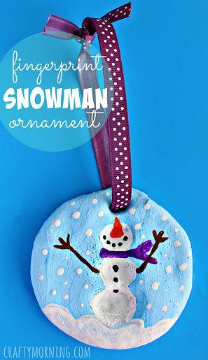 salt dough fingerprint snowman ornament