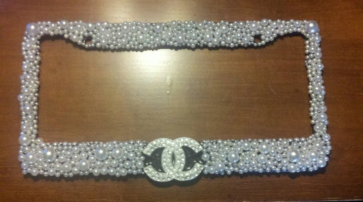 """Chanel 3D custom license plate frame with white pearls.  Le-Displays.com """"like"""" us on FB!"""