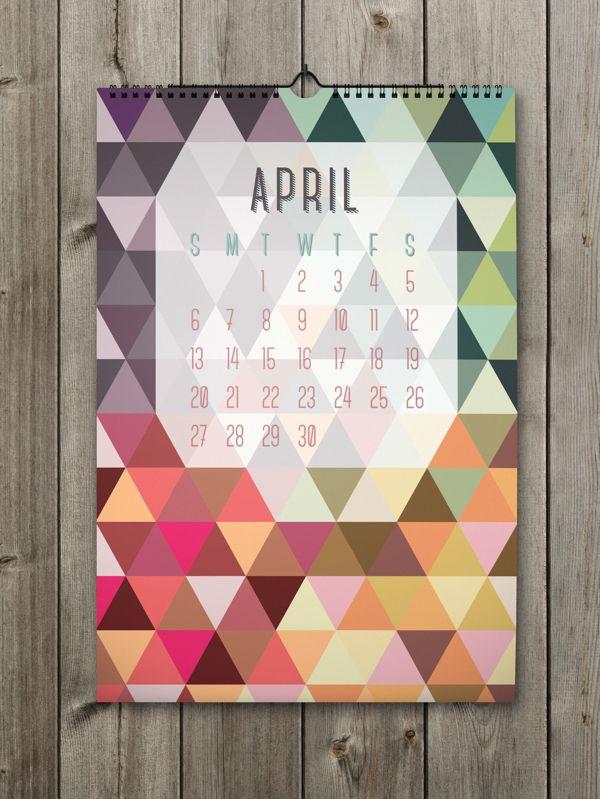 April Inspiring Calendar Design for the New Year: Shapes Calendar 2014