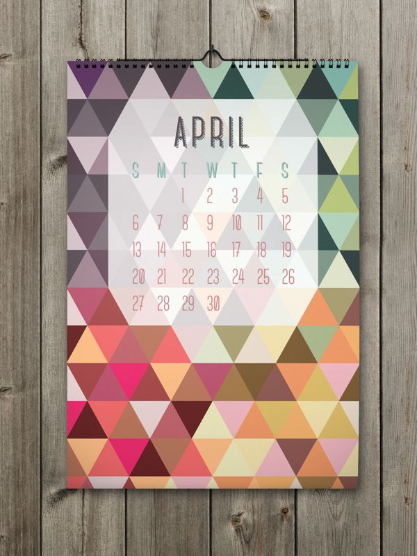April Inspiring Calendar Design for the New Year: Shapes Calendar 2014