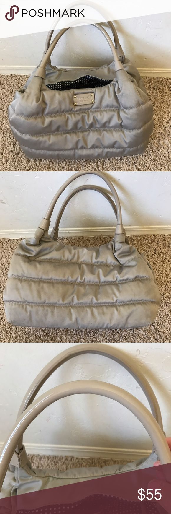 """KATE SPADE STEVIE ALPINE HILLS NYLON PUFFER Bag 100% authentic  Color Taupe gray  Nylon Handle 8"""" Width 14"""" Height 9.5"""" Smoke pet free home  Straps perfect no peeling Inside clean no stains  Little crinkle in material see picture  Purse in very nice overall perfect except what noted kate spade Bags Shoulder Bags"""