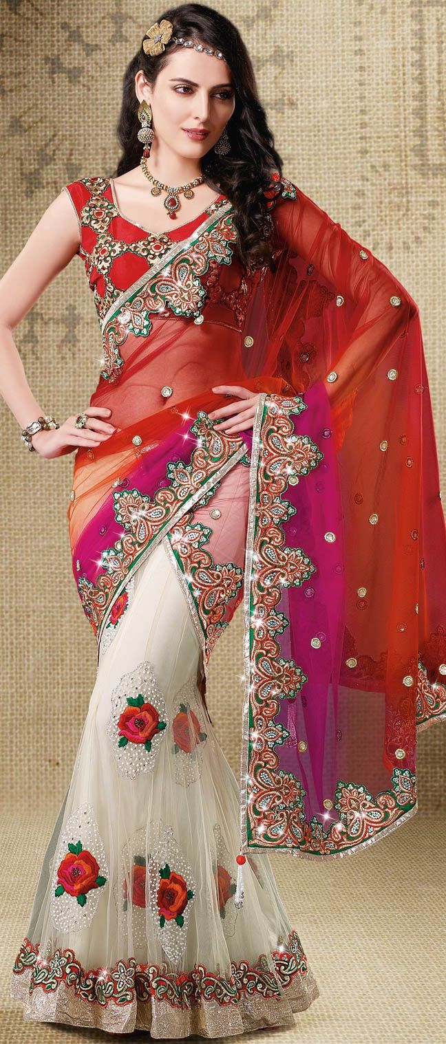 #Maroon, #Magenta and #White Net #Lehenga Style #Saree With Blouse