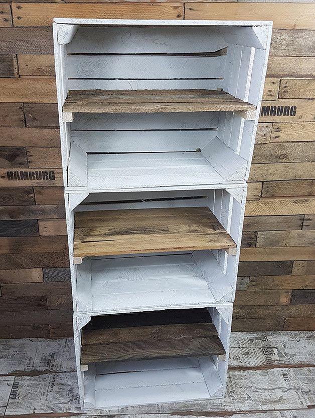 3 x stabile Obstkiste – gebraucht – weiß  –  mit Zwischenboden Ideal als Schuhregal / Schuhschrank zu verwenden Optimal auch für Aufbewahrungszwecke allgemein und Dekoration Ladenbau – 3…