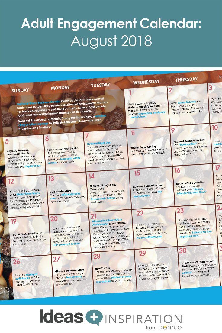 Adult Activity Calendar August 2018 National Day Calendar