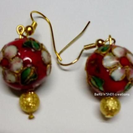 Earrings - Red Cloisonne - BaRb