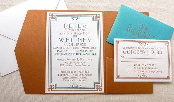 The Dogwood Suite - Letterpress Wedding Invitation Suite - Art Deco, Vintage, Formal, Turquiose, Teal, Copper, Orange, White, Bling, Pocket