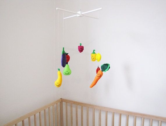 Veggie and Fruit Mobile Felt Mobile Baby Nursery by CGMonsters