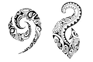 A Polynesian Tattoo Design with symbol eel, fish and tiki.