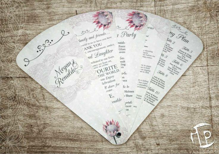 Vintage Wedding Programmes designed for Megan and Renaldo.  Protea Theme