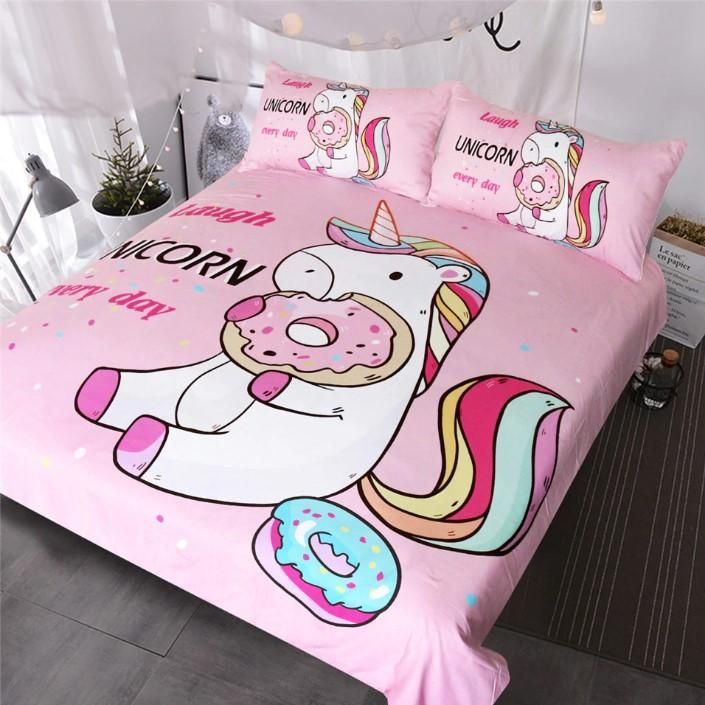 Cute Unicorn Bedding Sets Duvet Cover, Pink Unicorn Bedding Twin