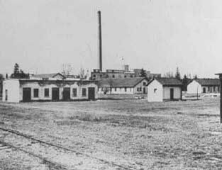 Early Photo of Dachau  (March or April 1933)  View of barracks and the ammunition factory in one of the first photos of Dachau concentration camp. Dachau, Germany