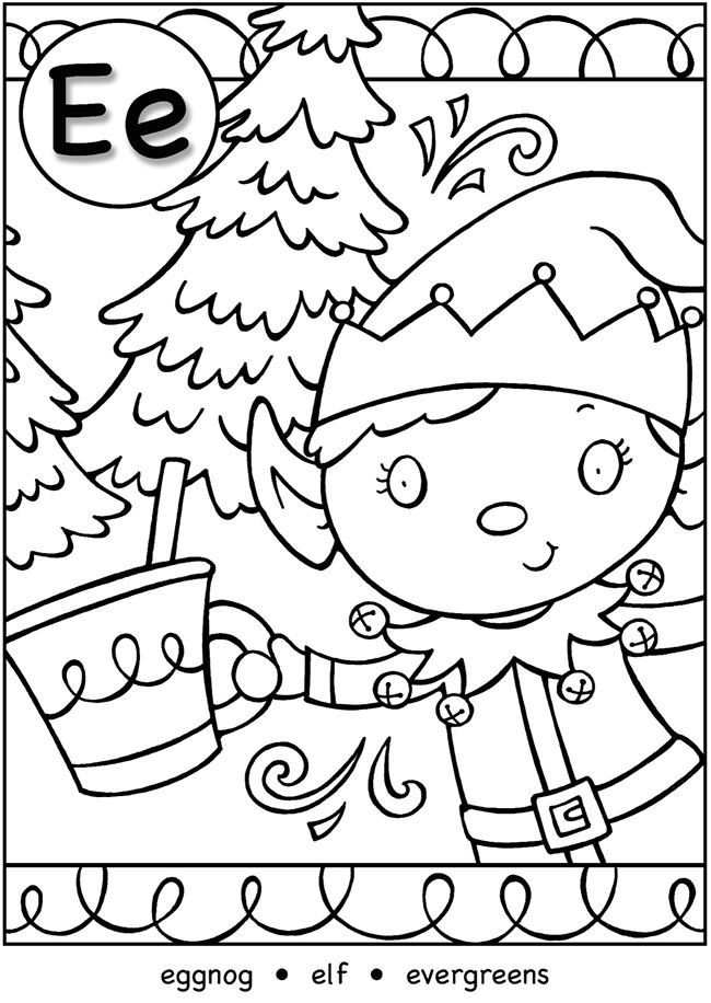 Dover My Christmas Alphabet Coloring Page 3