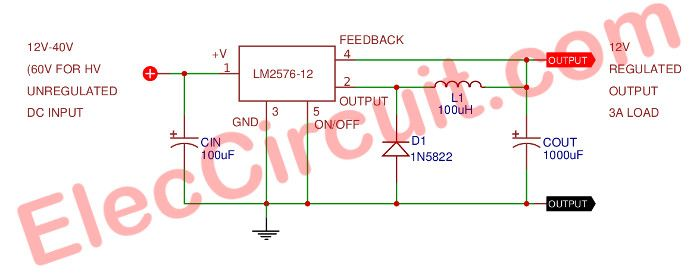 12v 3a Switching Regulator Circuit Using Lm2576 12 Eleccircuit Com Regulators Voltage Regulator Circuit