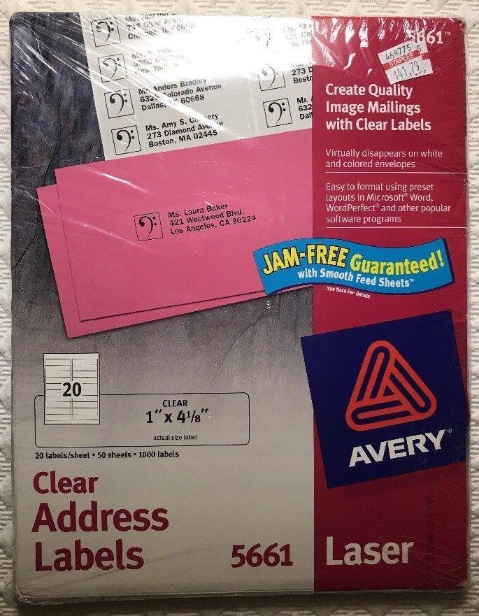"Avery 5661 Clear Address Laser Labels 1000 Total 1"" x 4"" 20 Per Sheet New  | eBay"