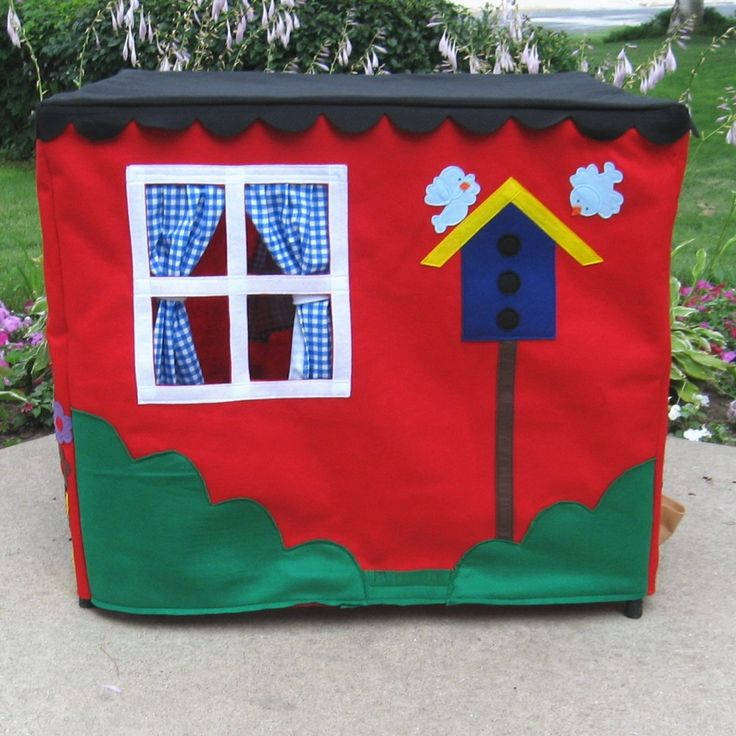 A playhouse, fort, kids tent, cubby to delight any child!! Are you a sewer? Make this playhouse yourself using this PATTERN: http://www.etsy.com/listing/65097296/card-table-playhouse-pattern-deluxe-sew Here is the popular Double Delight Card Table Playhouse made in bright cheerful red! Perfect for boys or girls, this little house provides hours of imaginative play fun. This playhouse is the anchor of my shop, its the first playhouse I designed (over 17 years ago), i...