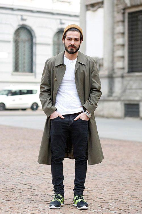 ステンカラーコート×ブラックジーンズ×リーボックZポンプフュージョン   メンズファッションスナップ フリーク   着こなしNo:99959
