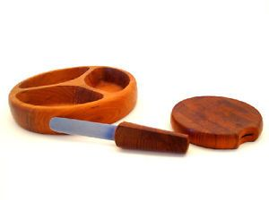 MID CANTURY DANISH MODERN CHEESE CUTTING BOARD & KNIFE & SERVING TRAY DANSK