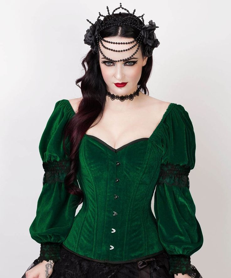 Fima Gothic Overbust Green Corset with Attached Sleeve – corsetdeal.com