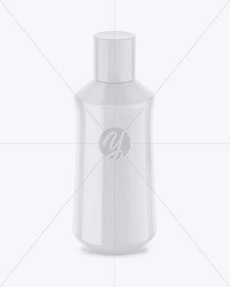 Glossy Plastic Bottle Mockup - Front View (High Angle Shot)