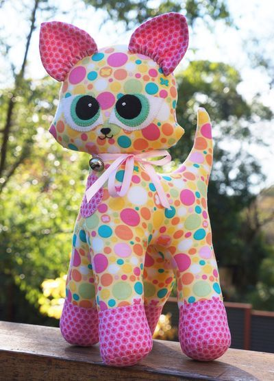 Gorgeous colourful cat soft toy Fabric Patch - Kiki (KIT) - by Melly and Me - Softy Toy Pattern