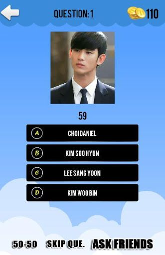 Love with korean drama? If you love korean sure, you must love korean drama artist too. This game about all artist at cast korean drama. Very easy to play and fun. <p>Feature:<br>* Hint option : 50 - 50, Skip question, and Ask friends<br>* Mutiple choice to select right answer<br>* Timer games<br>* Free shop coin<br>* Statictic game<p>Contain artist like a <br>Actreess :<br>Han Ga In,  Han Hyo Joo, Hwang Jung Eum, Han Ji Min, Jang Na Ra, Lee Yo Won, Moon Geun Young, Kim Sa Rang, Bae Su Ji…