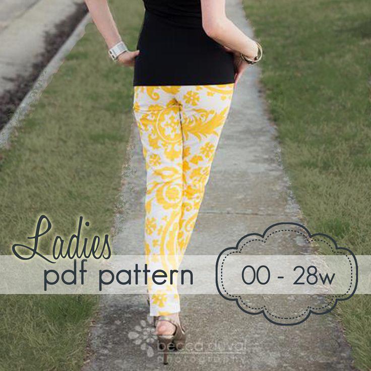 Ladies Skinny Pants, Capris & Shorts -XS-XXXL - sewing pattern