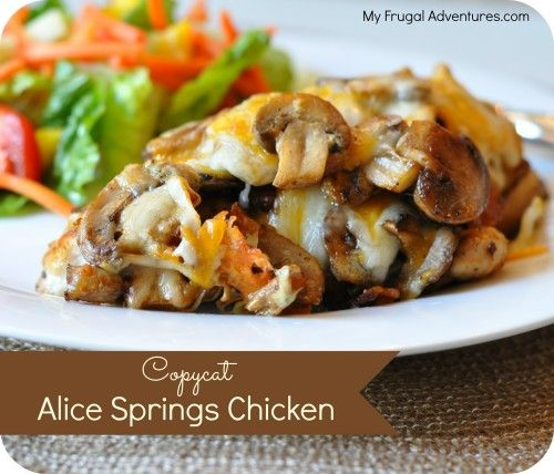Copycat Alice Springs Chicken Recipe- this is a quick and easy dinner idea with gooey cheese, crispy bacon and sautéed mushrooms.