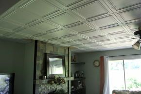 Ceiling tile! On regular ceiling all u have to do is glue!